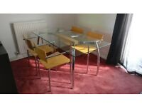 Glass Dining Table (160x80x72) plus 4 Chairs