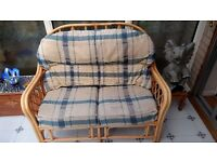 Cane / Rattan Furniture Set - 3 Piece (1 sofa, 2 chairs) - Ideal for Conservatory