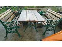 Superb quality antique cast iron table and chairs