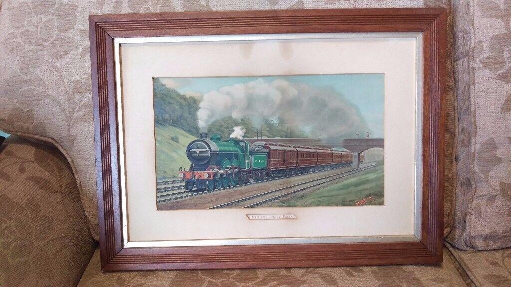 Vintage original framed railway print - An East Coast Flier - No 279 - old steam locomotive