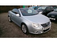 2008 DIESEL VW EOS SPORT 2.0 TDI CONVERTIBLE SILVER NEW MOT 100K WITH F/S/H RED HEATED LEATHER CD +