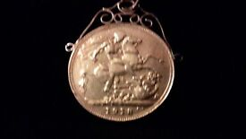 9c yellow gold barrel 1918 sovreign chain pick up