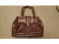 Large brown red leather Bramble & Brown bag with removable laptop sleeve £20