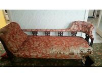 Antique possibly Edwardian salon suite (9 pieces of furniture) including chaise longue £425