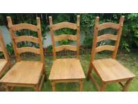 Corona Dining Chairs 4 Mexican Solid Pine 3 Slat chair