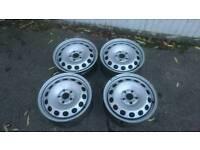Set of four VW 16 inch steel wheels