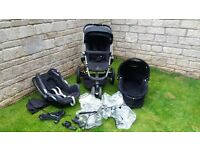 Quinny Buzz Pushchair, Quinny Carrycot, Maxi Cosi Cabriofix Car Seat and accessories