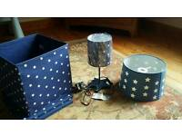 Star childrens room lamp, light shade and 3 material storage boxes