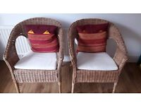 Pair of IKEA AGEN Rattan/Bamboo Chairs (with Decorative Cushions)- As-New Condition-Collection Only