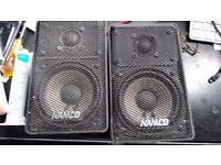 A PAIR Gaming Original NAMCO Micro- 100 2 Bass speakers system in metal case 11x18 cms