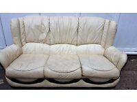 2 x 2 seater cream leather sofas £40 pair