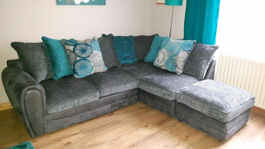 Faric Corner Sofa Charcoal And Teal Colour