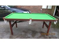Snooker table 6' x 3' balls and chalk