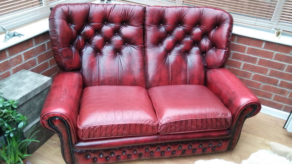 Deep red leather 2 seat chesterfield sofa with high back | in ...
