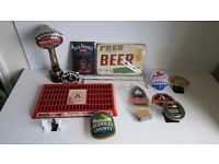 Man Cave / Shed - Bar - Pub Bundle, Beer Pumps, Stella Tray, Wall Signs, Clips - Job Lot