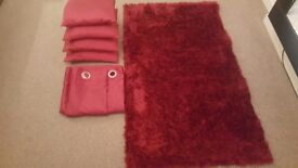 Red Rug and Silk Effect Red Curtains