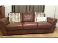 2 brown leather sofas, 1 x 2 seater and 1 x 3 seater. Good condition