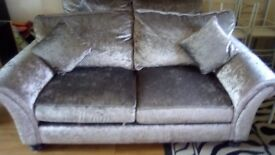 Crushed velvet sofas x2 under 3months old priestage condition