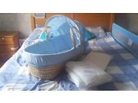 MOSES BASKET BABY CRIB WITH TWO DRESSINGS AND EXTRA BEDDING ITEMS