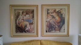 2 large Michelangelo prints with ornate gold frames
