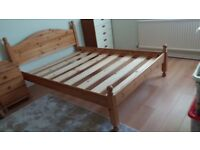 Solid pine double bed for sale
