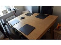 Beech table four brown leather chairs good cond