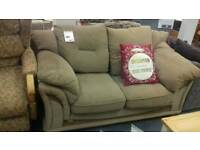 Brown cord fabric 2 seater sofa