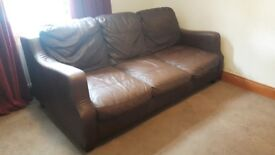 Brown leather 3 seater sofa in good used condition