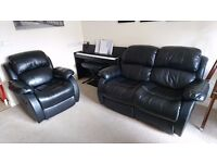 Valencia Bonded Leather Recliner Sofa Suite Black