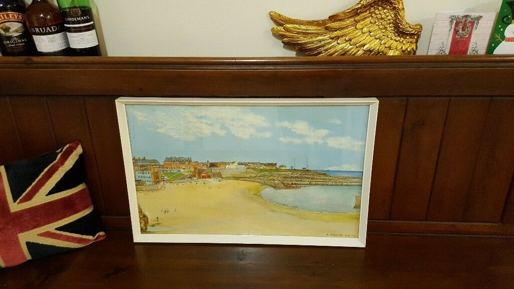 vintage retro oil painting of cullercoats