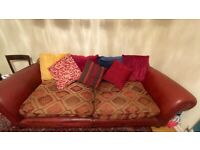 Tetrad Eastwood Sofa Vintage Classic Leather and Fabric Cushions £2,500 new Chelsea SW10