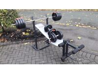 YORK WEIGHTS BENCH WITH 50KG WEIGHTS & BARS