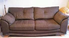Chocolate brown 3 seater sofa