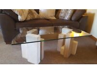 coffee table. Glass and marble