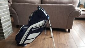 Cobra navy and white golf carry bag.