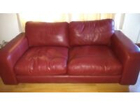 Three piece leather suite 3 seater 2 seater storage footstool very good condition buyer to collect