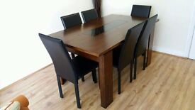 Beautiful Solid Wood Table & 6 Faux Leather Chairs