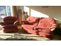 3 seater terracotta sofa and 1 x chair