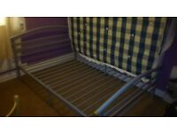 Metal frame bed with mattress