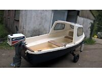 13ft cabin/day boat with engine and trailer