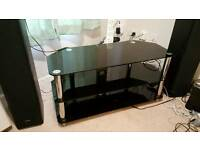 Piano black tempered glass TV stand