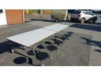 12 seater children's table with stools attached for parties and/or art activities