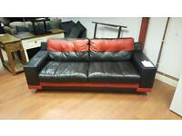 DFS 3 seater sofa in black & red leather,mint mint condition £195