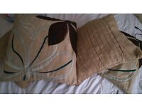 """BEIGE / LIGHT BROWN NEUTRAL SUEDE FEEL BLUE AND BROWN EMBROIDERY SET OF 4 CUSHIONS 42 cm / 16.5 """""""