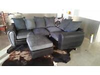 DESIGNER EX DISPLAY BLACK & GREY CORNER SOFA WITH FOOTSTOOL - EXCELLENT CONDITION - FREE DELIVERY