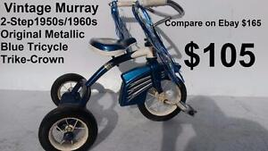 2- 4 Ages bike VINTAGE 1950s/1960s Original  MERRAY CLASSIC  Old Pedal TRICYCLE  Trike