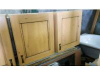 Oak kitchen wall units