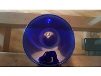 Glass plate bowl hand made large in blue