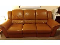 Chateau d'Ax leather sofa with 2 relax
