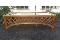 A Vintage/Retro Rattan Style Conservatory Type Coffee Table Shabby Chic/Vintage Look
